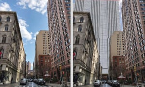 The original plan to build 'skyscraper jails' faced fierce backlash. Shown is a side-by-side comparison of one of the sites as it stands today and with the proposed 45-storey tower.