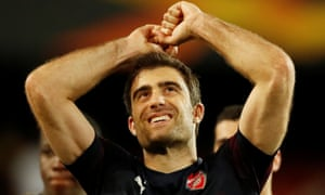 Arsenal's Sokratis Papastathopoulos celebrates after their semi-final win in Valencia.