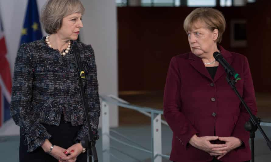Theresa May with Angela Merkel in Berlin last year:
