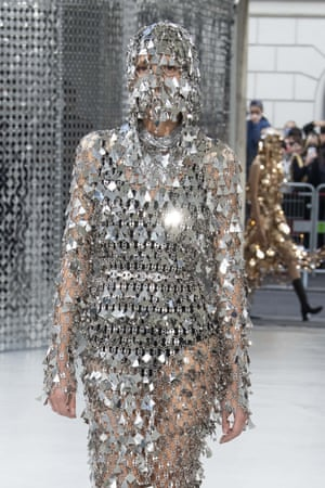 Chain mail mask from Paco Rabanne's womenswear collection.