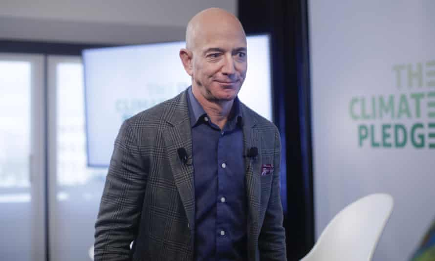 Amazon CEO Jeff Bezos after holding a news conference in Washington in September 2019 to announce the Climate Pledge, setting a goal to meet the Paris agreement 10 years early.