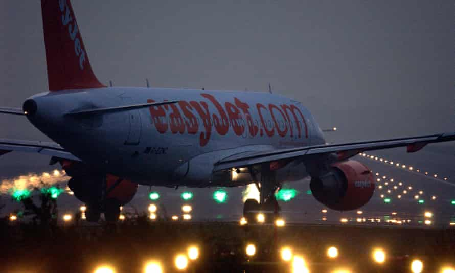 An easyJet plane taxis to the runway