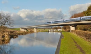 An artist's impression of an HS2 train on the Birmingham and Fazeley viaduct.