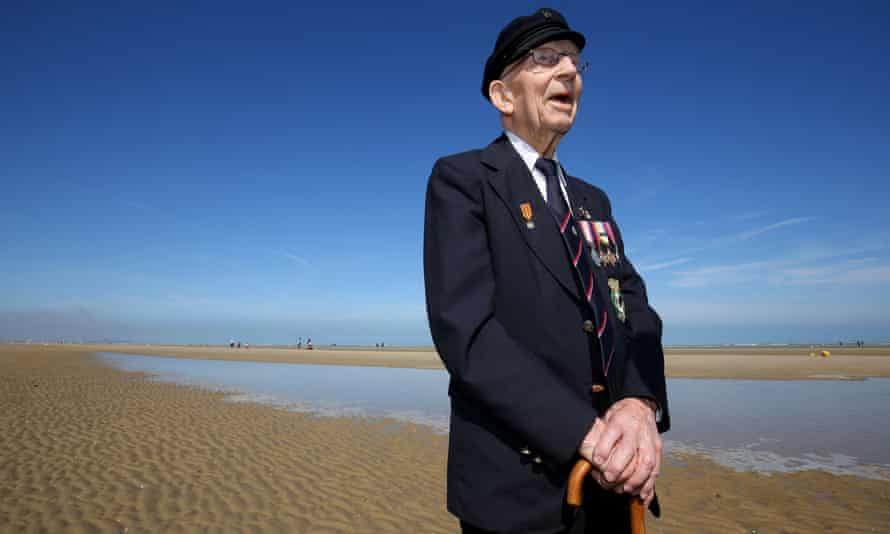 Vic Viner on the beach at Zuydcoote in France, near to where he was responsible for boarding allied soldiers onto a flotilla of little ships bound for England.