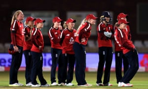 England Women wait for the result of a review during the second T20 against West Indies