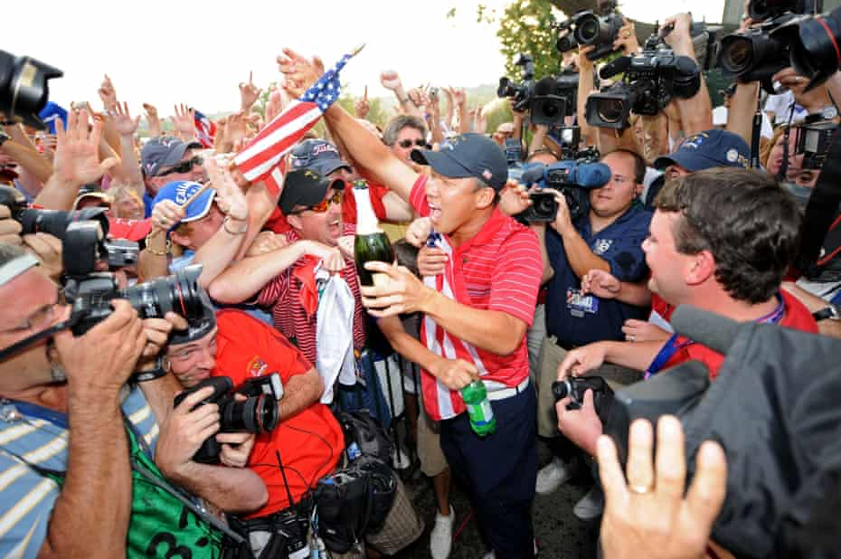 Anthony Kim celebrates the USA's Ryder Cup victory at Valhalla in 2008.