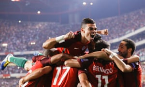Pepe joins the celebrations as Portugal sealed their place in Russia with a victory over Switzerland.