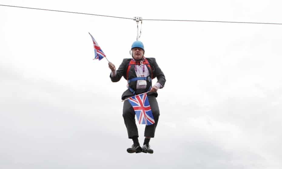 Boris Johnson stuck on a zipline in Victoria Park, London, August 2012