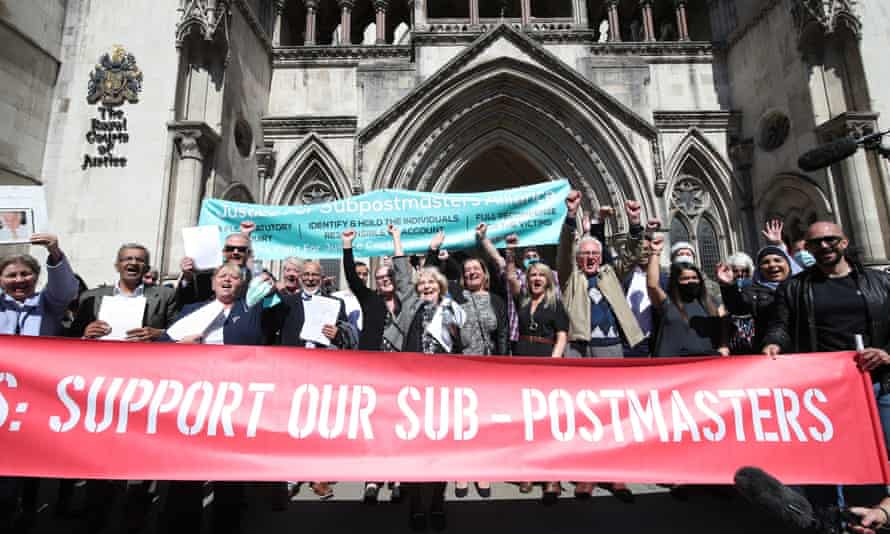 Former Post Office workers celebrating outside court