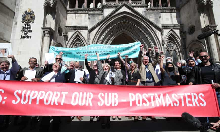 Former Post Office workers celebrate outside the Royal Courts of Justice in London in April after their convictions were overturned