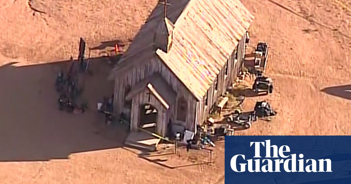 Aerial footage shows police presence at scene of Rust film set – video