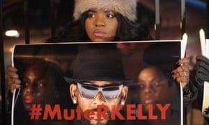 Protestors rally in support of sex abuse survivors outside R Kelly's Chicago recording studio in 2019.