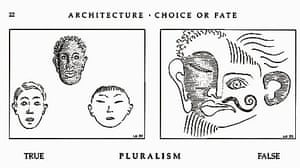 This image by Léon Krier, a supporter of the Frankfurt project, appears in his book Architecture: Choice Or Fate. It has been criticised as racist.