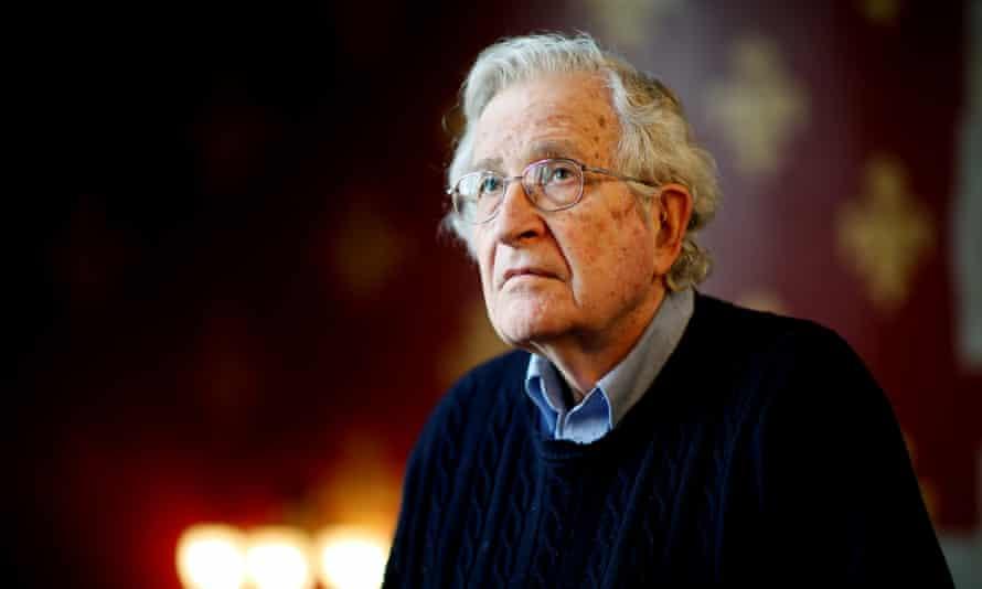 Noam Chomsky photographed at St Pancras Renaissance Hotel