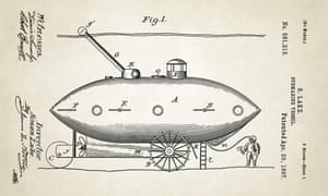 USA, 1897 A submarine invented by American naval engineer Simon Lake. The submarine was designed to move across the seabed on wheels. It also had a periscope, escape hatch, and conning tower