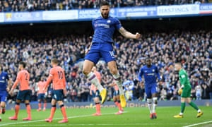 Olivier Giroud of Chelsea celebrates after scoring his team's fourth goal.