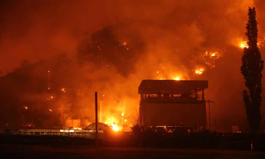 Wildfires burning close to the Kemerköy power power plant in Muğla, Turkey.