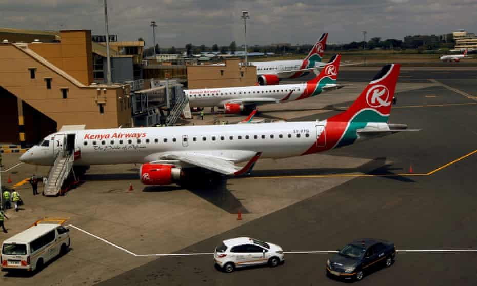 Kenya Airways planes at Jomo Kenyatta International airport in Nairobi.