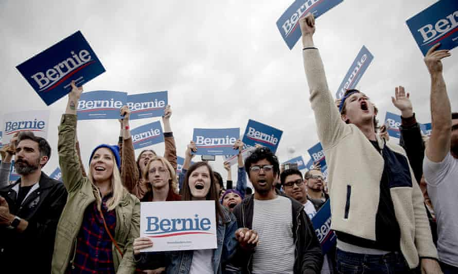 Bernie Sanders supports cheer during a February 2020 rally in Austin, Texas. Biden has been unable to win over the vast majority of voters under 45 during the primary.