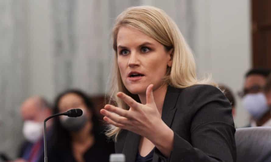 Frances Haugen testifies before a Senate subcommittee.