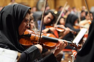 Members of the Tehran Symphony Orchestra in rehearsal