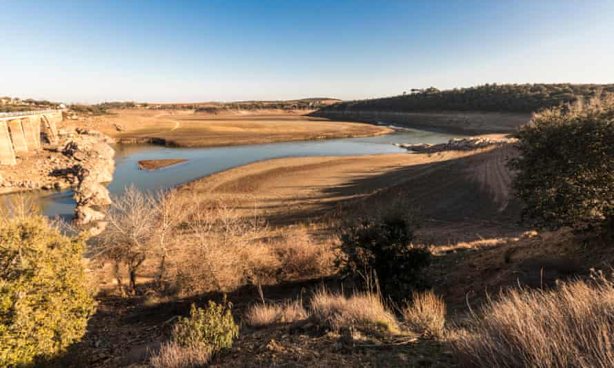 The Ricobayo reservoir (Embalse de Ricobayo) before it was drained to produce hydroelectricity in Zamora, Spain.