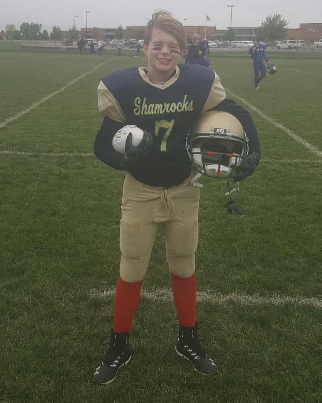 Kris Wilka in football uniform