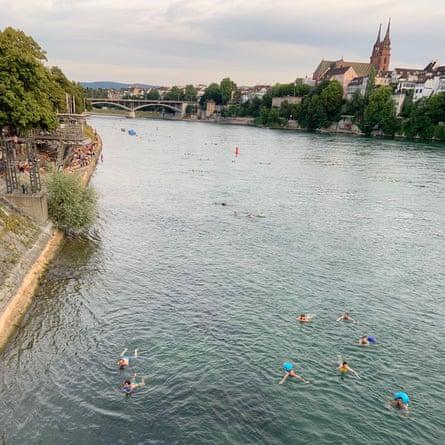 Swimming in the Rhine in Basel, Switzerland.