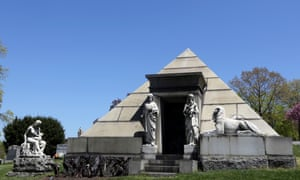 A mausoleum fashioned after a pyramid at Green-Wood Cemetery, New York City.