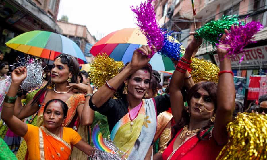 Pride parade in Kathmandu, Nepal, demanding equal rights for LGBT people, August 2019.