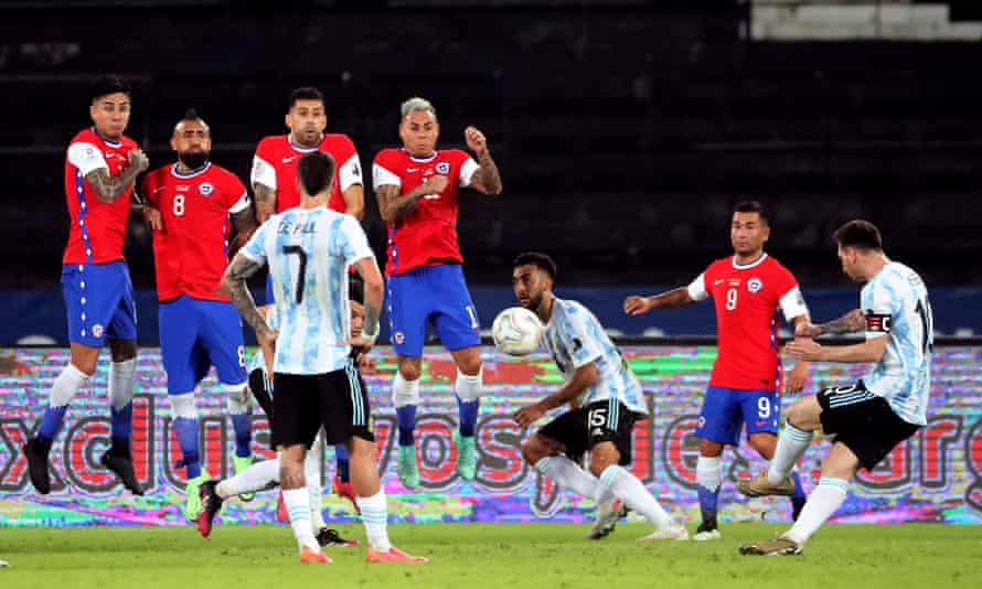 Lionel Messi scores a superb free-kick to put Argentina ahead in the first half
