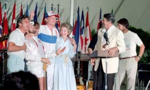 "Ronald Reagan and Nancy Reagan meet with the Beach Boys a few months after Reagan's Secretary of the Interior announced that rock bands attracted ""the wrong element""."