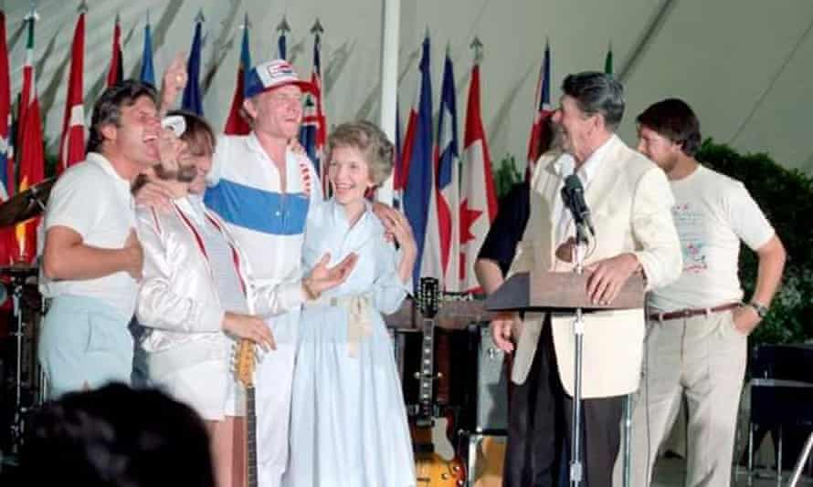 """Ronald Reagan and Nancy Reagan meet with the Beach Boys a few months after Reagan's Secretary of the Interior announced that rock bands attracted """"the wrong element""""."""