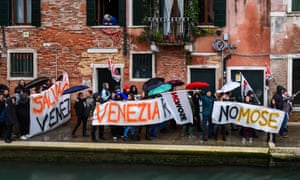 A protest in Venice against cruise ships and the Mose flood barrier project.