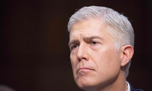 Neil Gorsuch listens during his Senate judiciary committee confirmation hearing.