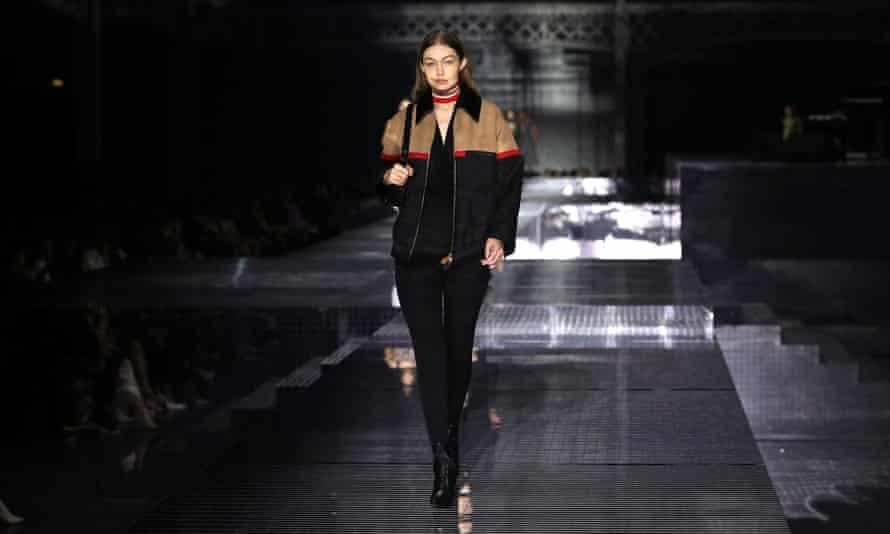 Gigi Hadid models for Burberry at London fashion week