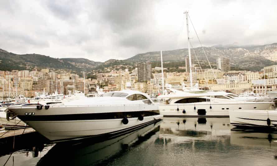 Luxury yachts moored in the harbour in Monaco.