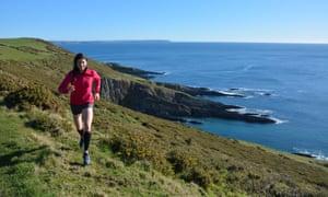 Jen Benson runs on the South West Coast Path near Newton Ferrers