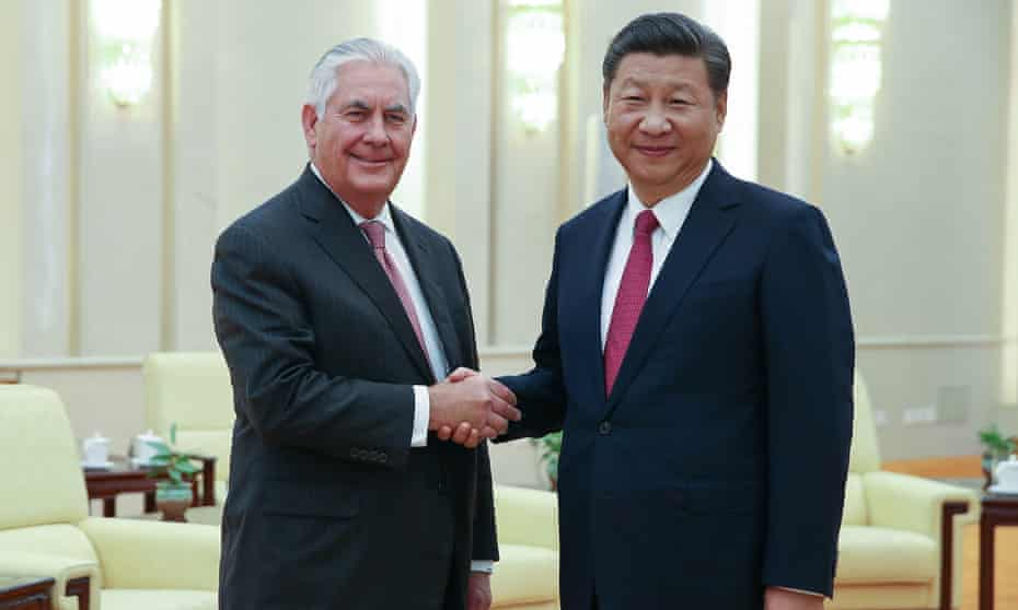US secretary of state Rex Tillerson shakes hands with Chinese president Xi Jinping on 30 September.