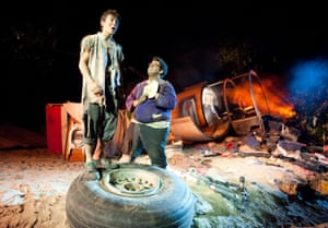 Designer Jon Bausor turned the stage into a crash site, complete with a chunk of Boeing 747 airliner, for Lord of the Flies in 2011. Alistair Toovey played Ralph and George Bukhari was Piggy in the adaptation of William Golding's novel