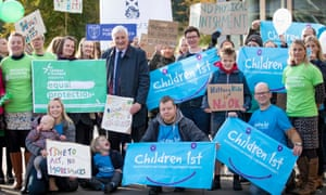 An anti-smacking rally outside the Scottish parliament