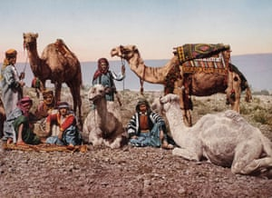 Camel drivers in the desert. 1895