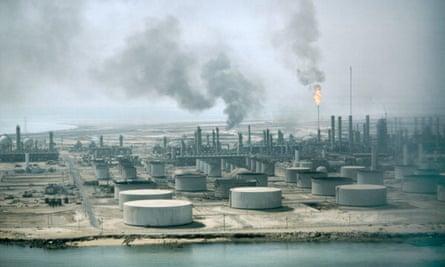The Aramco oil refinery in Saudi Arabia