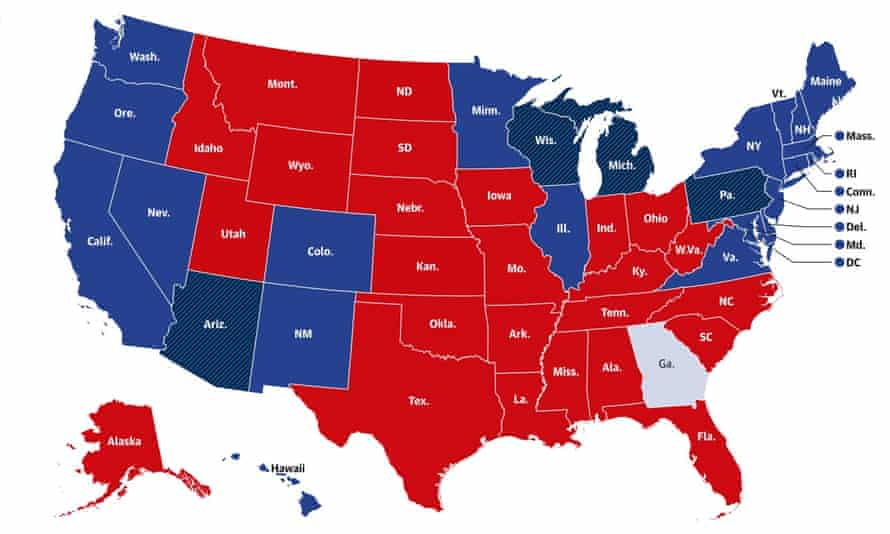 How the interactive map looked after most of the results had been counted, with red showing those states which had a Republican majority, and blue showing those which had a Democrat majority.