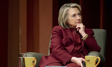 Hillary Clinton during a lecture on foreign policy at Rackham Auditorium, 10 October 2019 in Ann Arbor, Michigan.