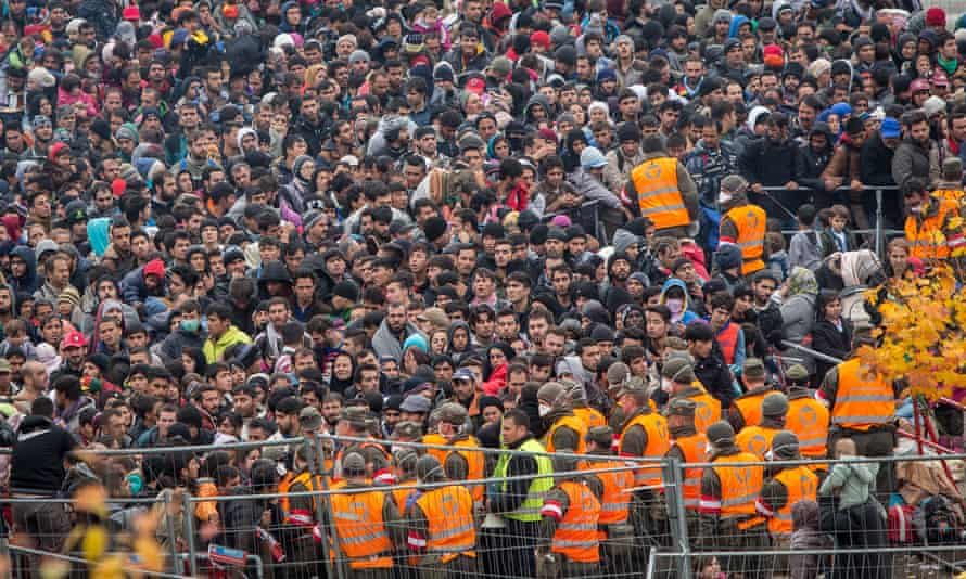 Refugees gather at the border to Austria in Sentilj, Slovenia, last week.