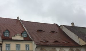 Sibiu house with traditional windows.