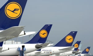 A row of Lufthansa planes at Munich airport.