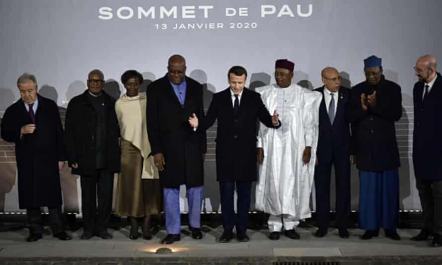 French president Emmanuel Macron poses with G5 African heads of state after a Sahel summit in Pau earlier this month.