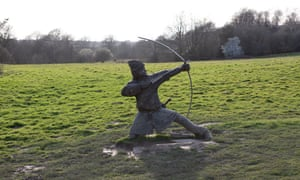 A carved figure depicting a Norman soldier in action on the site of the Battle of Hastings in Kent.